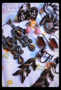 Jewelry - Unique 5 pair lot of signed earrings